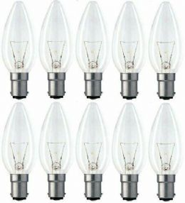 10 x 60w Watt B15 B15d Clear Bayonet Cap Base Fitting Dimmable Candle Bulb Bulbs